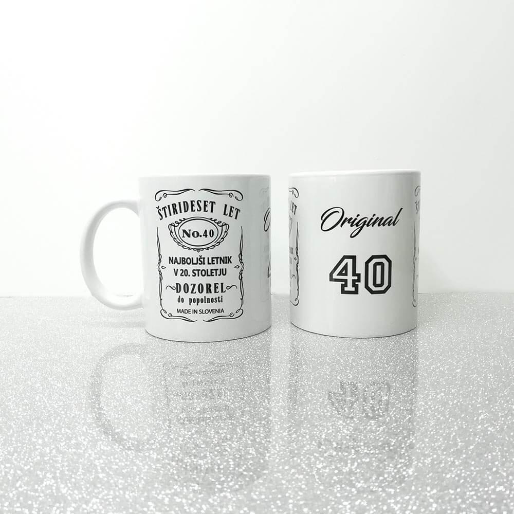 40 let, 40, jubilej, originalnih 40, rojsni dan, skodelica, darilo,