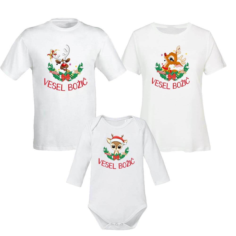 komplet deer, funny deer, baby deer, christmas, merry christmas, vesel božič, darilo_za_božič, majica, rerum, darilo, družina