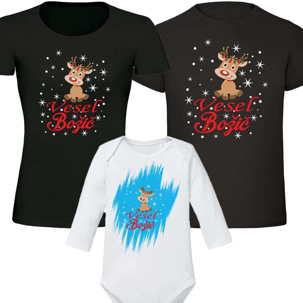 družinski komplet vesel božič snežinske in jelenček, druzinski_komplet, bodi, bozic, darilo, tisk, majica