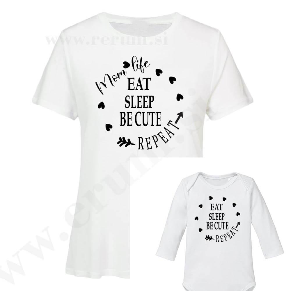 družinski komplet eat sleep be cute repeat, mami in otrok, bodi, majica, darilo, rerum