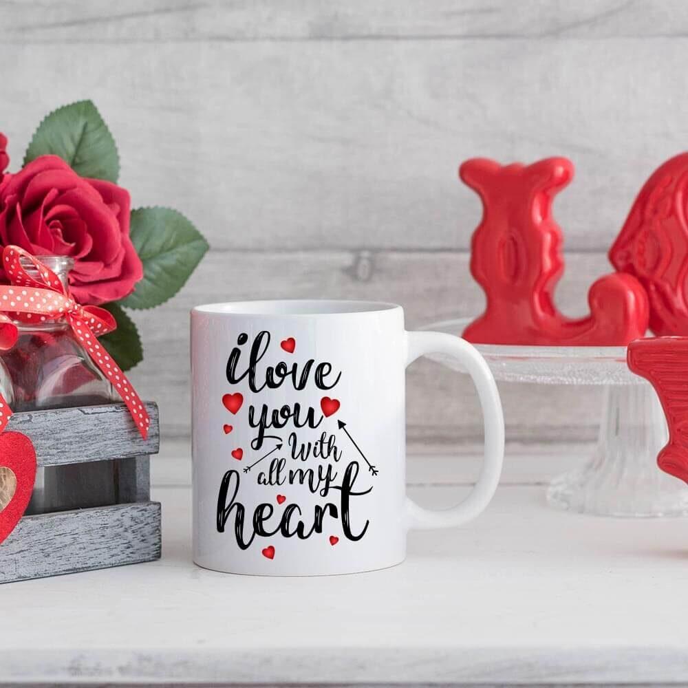 I love you with all my heart, skodelica, šalica, keramična skodelica, skodelica za valentinovo, darilo za valentinovo. love, valentinovo