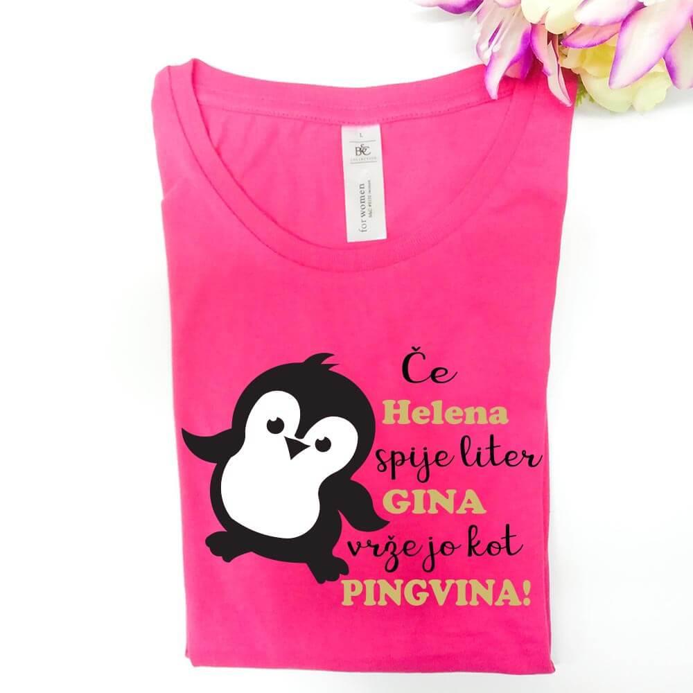 če spiješ liter gina, vrže te kot pingvina. majica, darilo, rerum, gin, majica_gin, darilo_za_njo, pingvin, rerum_majica, smešna_majica
