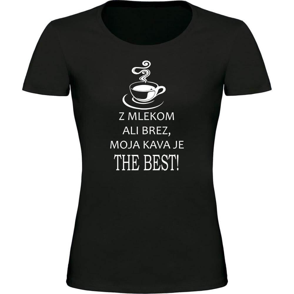 z mlekom ali brez, darilo, kava, majica kava, ljubitelji kave, bela_kava majica,. majica z kavo