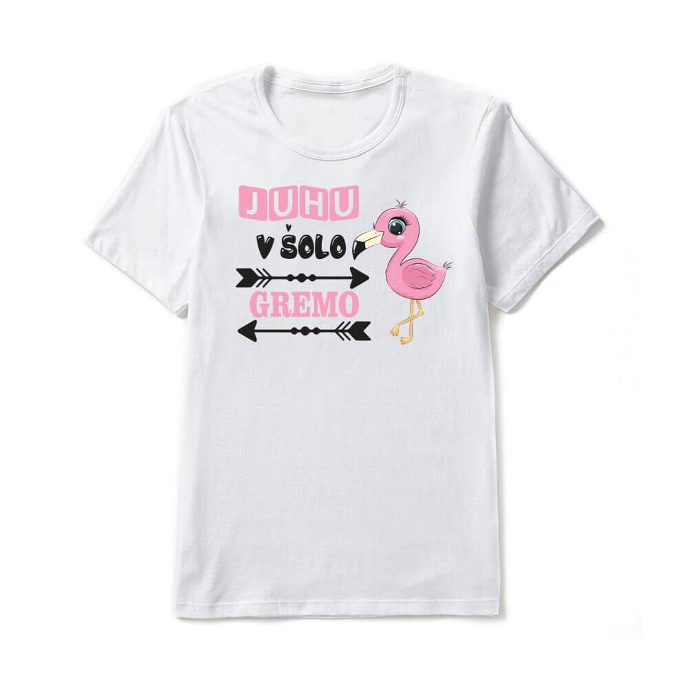 juhu v šolo gremo, šola, majica za prvošolčke, darilo, tisk, rerum, unikatna majica, majica za šolarje,