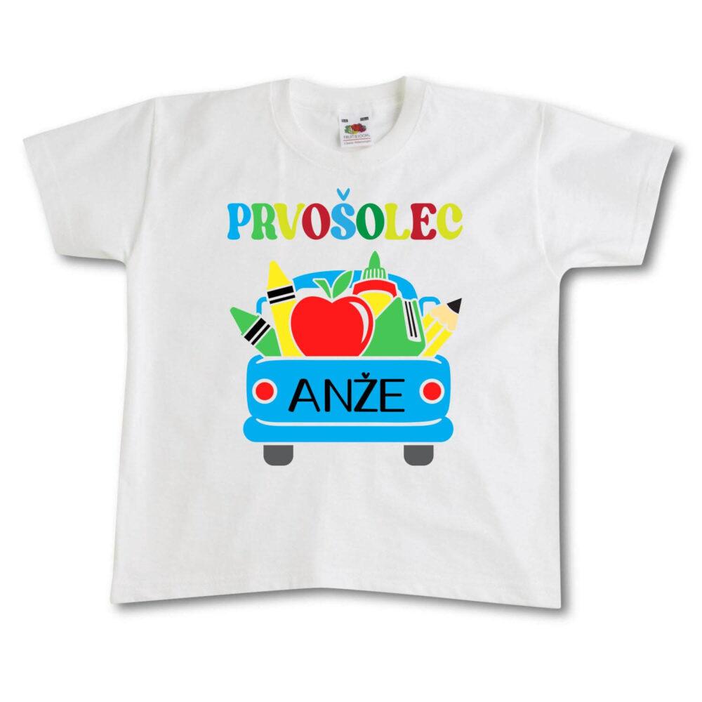 prvošolec, darilo, majica, rerum, tisk, prvič v šolo, majica za v šolo,