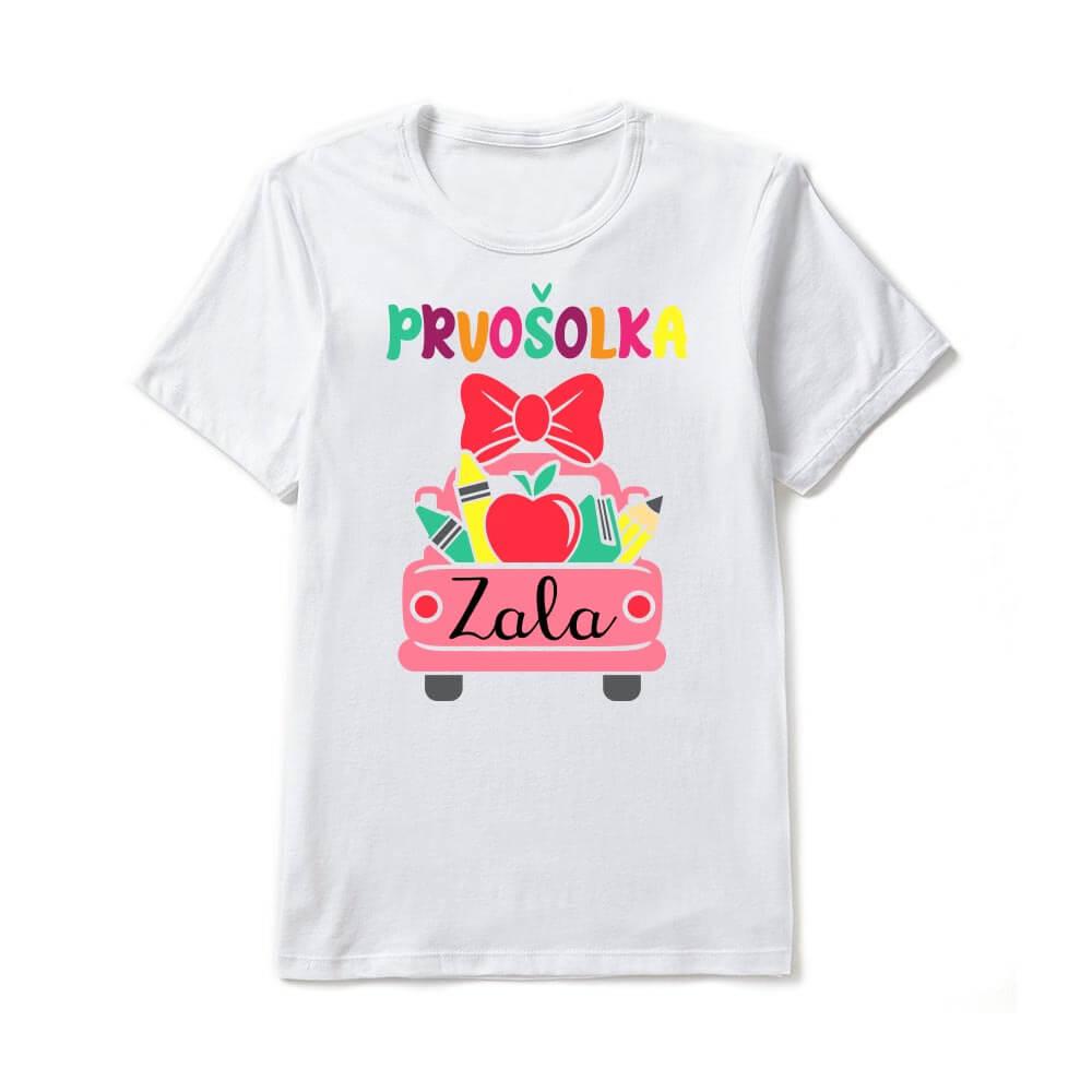 prvošolka, majica za prvošolko, darilo, majica, prvič v šolo, tisk_na_majici, personalizirana_majica_za_v_šolo