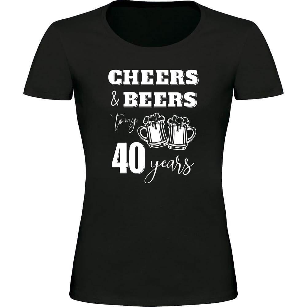 CHEERS AND BEERS TO MY 40 YEARS, majica za rojstni dan, 40 rojstni dan, darilo, tisk, rerum, unikatna majica, zabavna majica, darilo za 40 rojstni dan